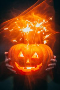 Jack-o-lantern with sparkler